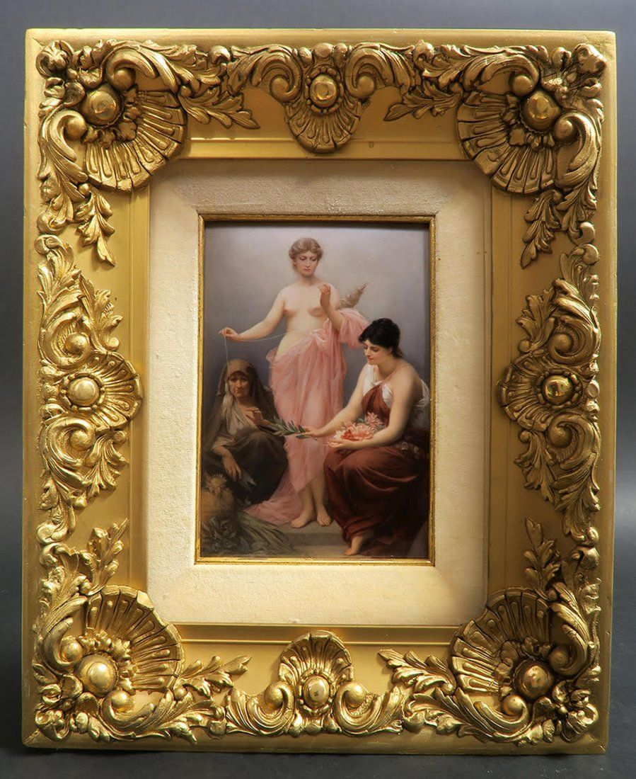 """Large 19th C. Framed Berlin KPM Plaque """"the 3 Fates"""""""
