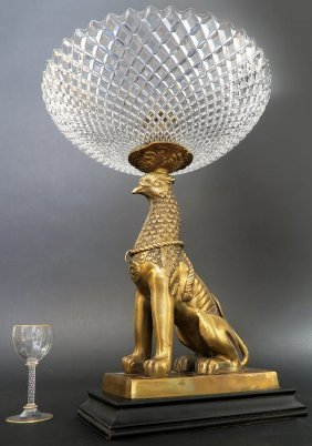 French Mid 20th C. Bronze Figural & Crystal Centerpiece