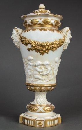 Large 19th C. Capo di Monte Figural Porcelain Urn