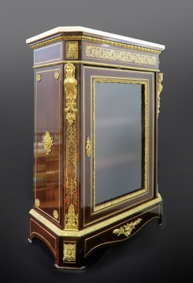 Very Fine French 19th C Bronze Mounted Figural Cabinet