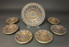 19th C. Set of Russian/Persian Silver Enameled Plates
