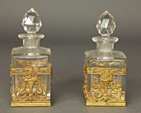 Pair of French Bronze & Baccarat Crystal Perfume Bottle