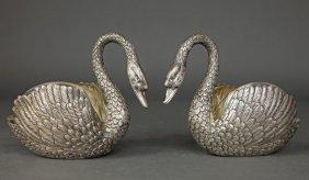 Pair of 19th C. Sterling Silver Swan shape Bonbonier