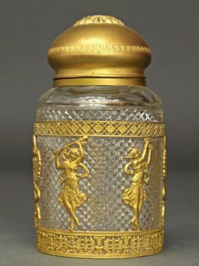 19th C. French Bronze & Baccarat Crystal Perfume Bottle
