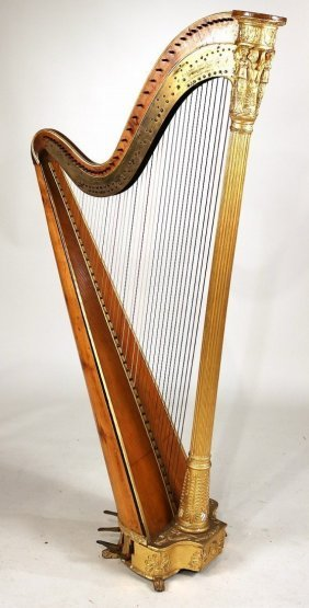 Regency J & J; Erat Patent Parcel-Gilt Harp 19th C.