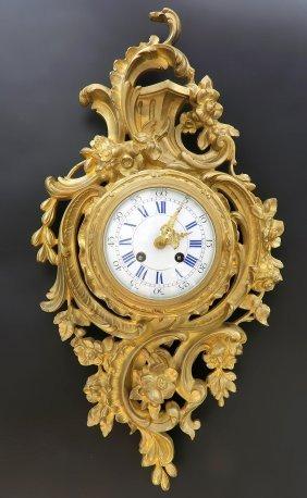 Fine 19th C French Bronze Cartel Clock