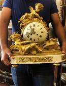 19th C. French Bronze & Marble Figural Clock