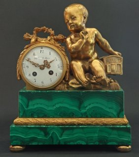 French Bronze & Malachite Figural Clock Theodore Starr