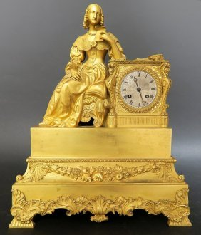 18th C. French Empire Dore Bronze Figural Clock.