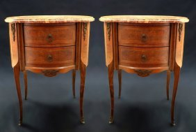 French Pair of Marble Top Side Tables/Night Stands.