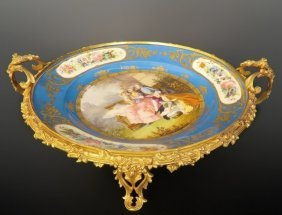 19th C. Bronze Mounted Hand Painted Sevres Centerpiece