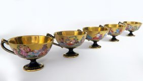 5 Royal Vienna Hand Painted Cups. 19th C