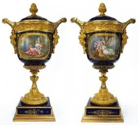 Pair of French Sevres & Bronze Lidded Urns. 19th C
