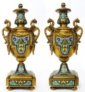 Pair of French Bronze & Champleve Enamel Urns