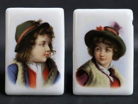 French Pair of Hand Painted Porcelain Plaques