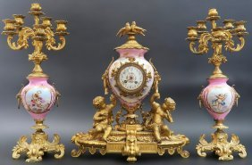 French Sevres Porcelain Mantle Clock & Candelabras