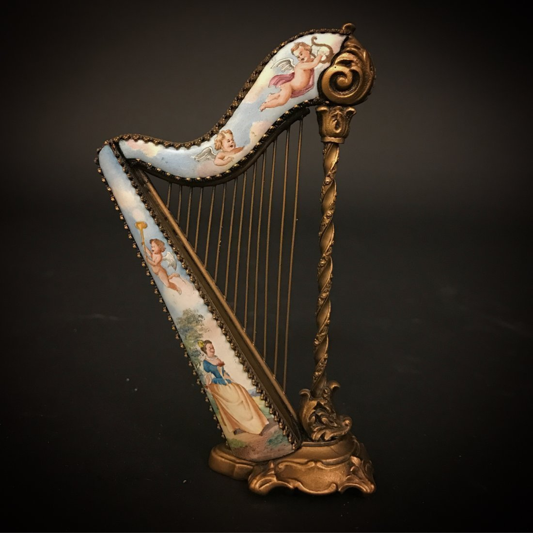 19th C.Vienna Enamel & Bronze Antique Miniature Harp
