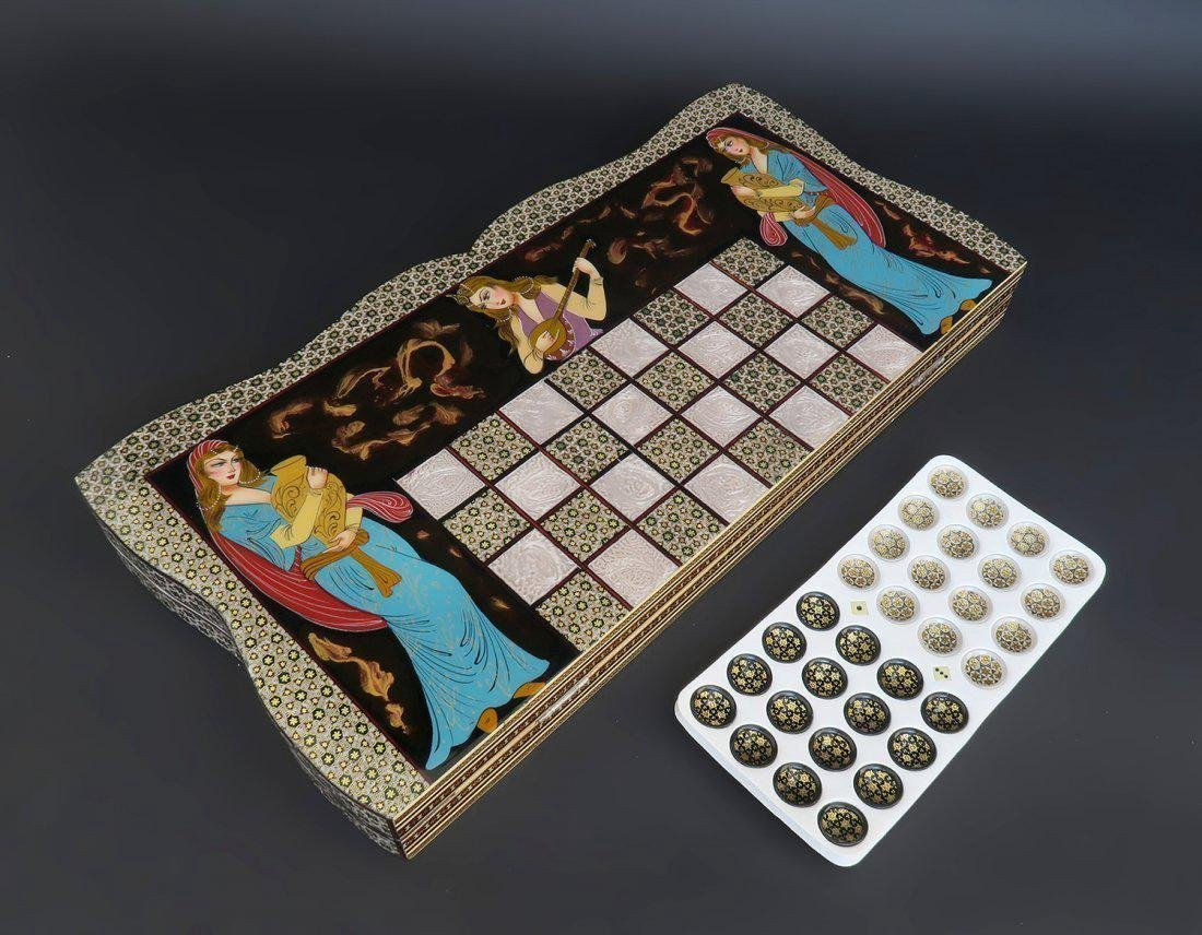 Magnificent Large Hand Made Persian Backgammon - 3