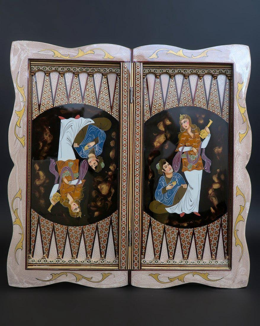 Magnificent Large Hand Made Persian Backgammon - 5
