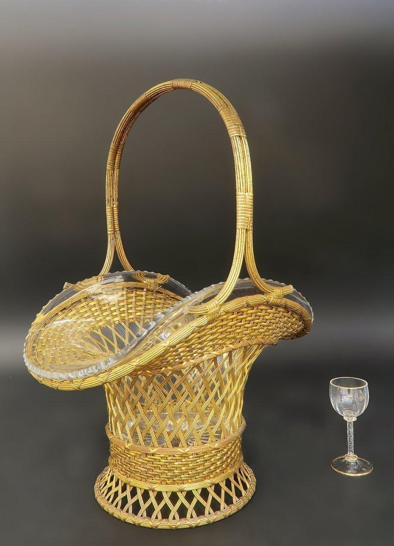 Monumental 19th C. Bronze & Baccarat Basket Centerpiece