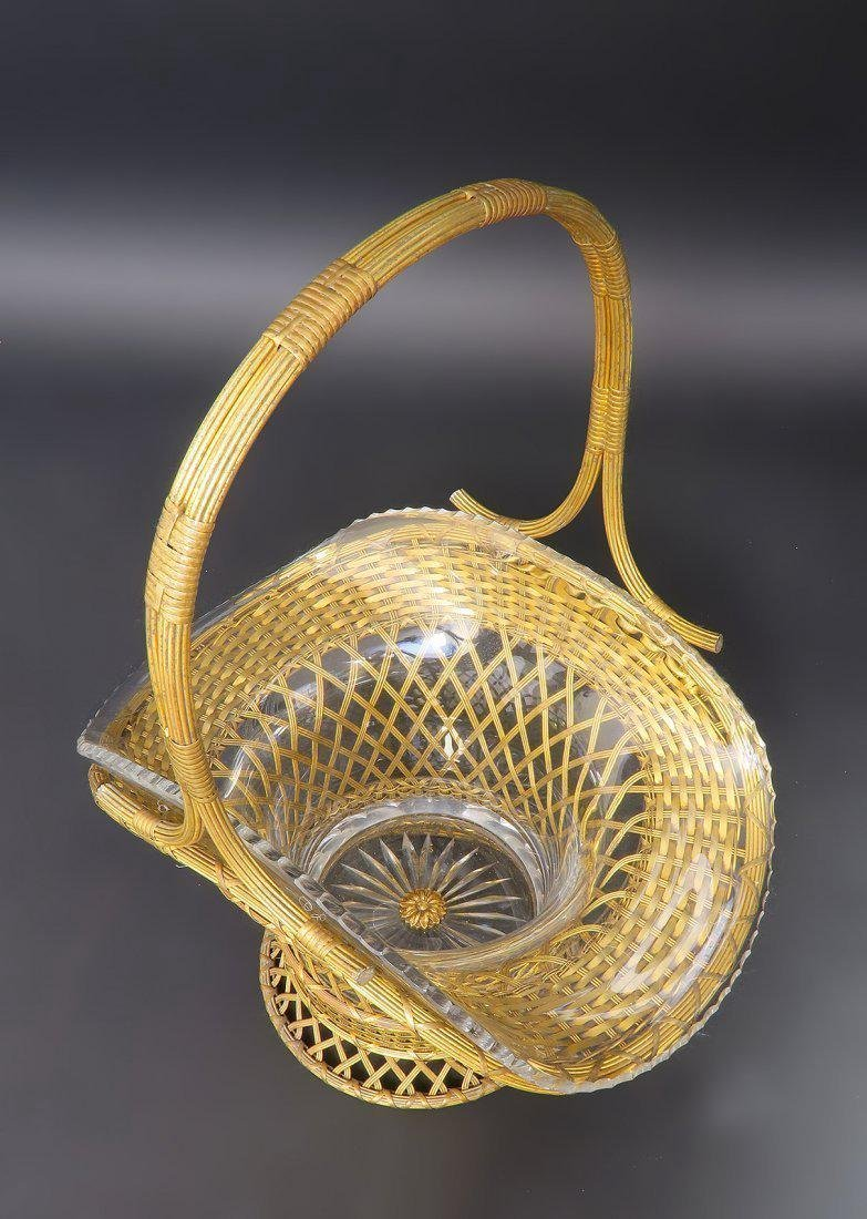 Monumental 19th C. Bronze & Baccarat Basket Centerpiece - 2