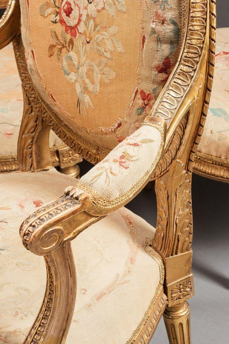 19th C. Aubusson Tapestry 5 Piece Gilt Wood Salon Set - 3
