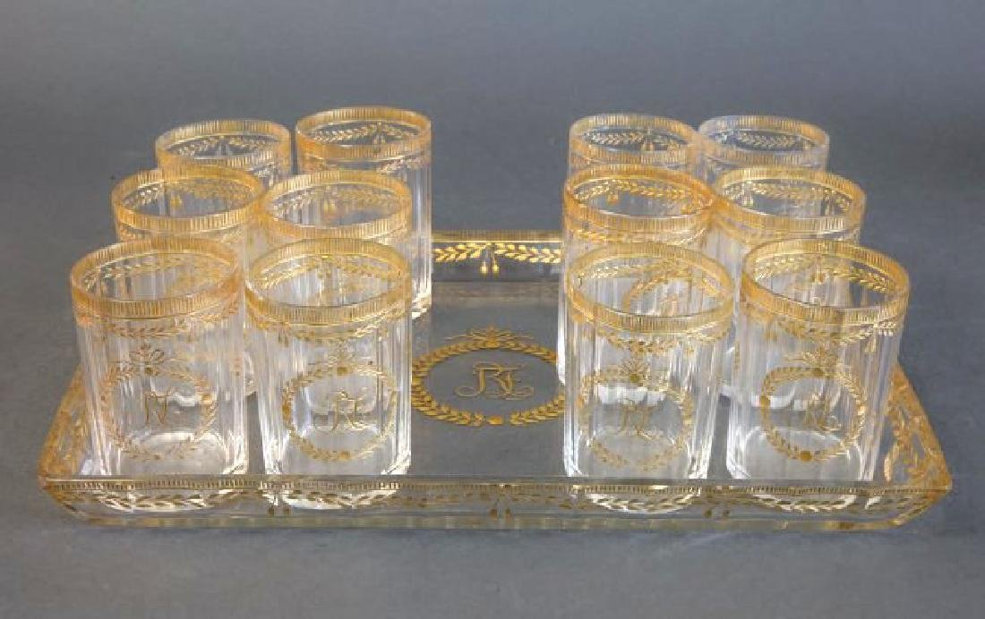 19th C. Set of Baccarat Glasses (12 glasses) and Tray