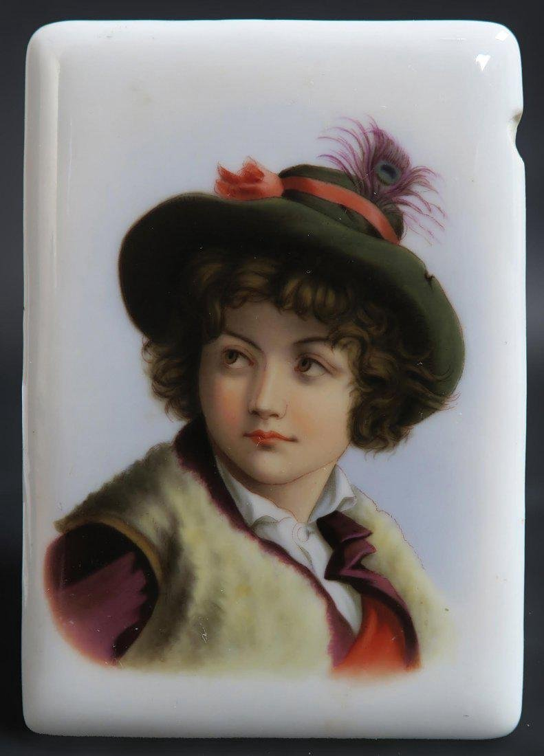 French Pair of Hand Painted Porcelain Plaques - 3