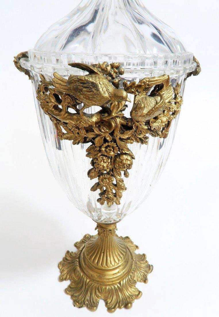 Large French Bronze & Baccarat Style Lidded Urn - 4