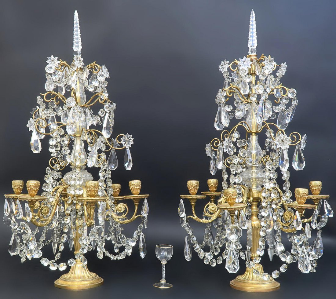 Pair of French Baccarat Crystal & Bronze Girandoles