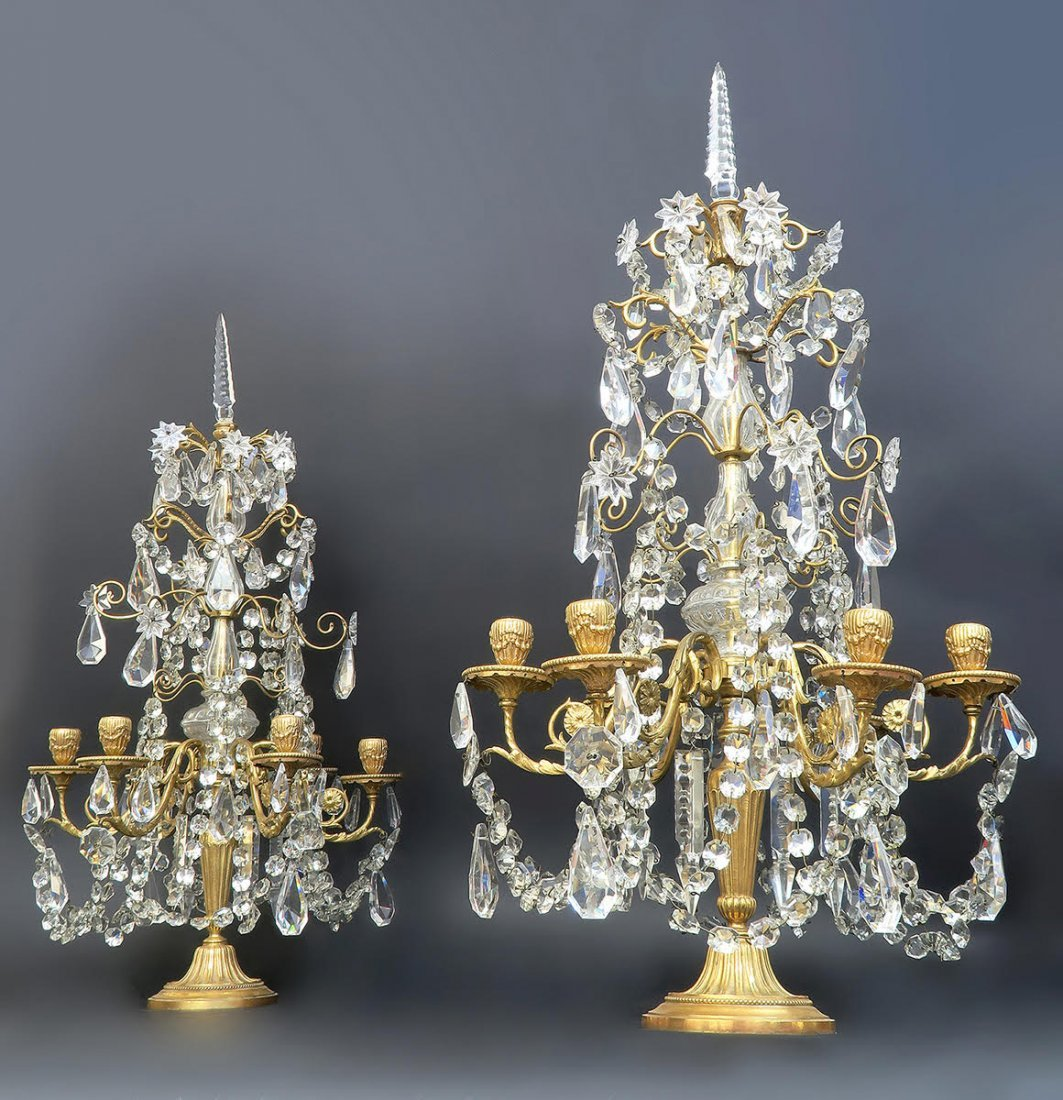 Pair of French Baccarat Crystal & Bronze Girandoles - 2