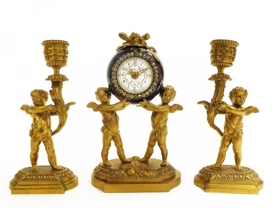 19th C. French Porcelain and Figural Bronze Clock Set