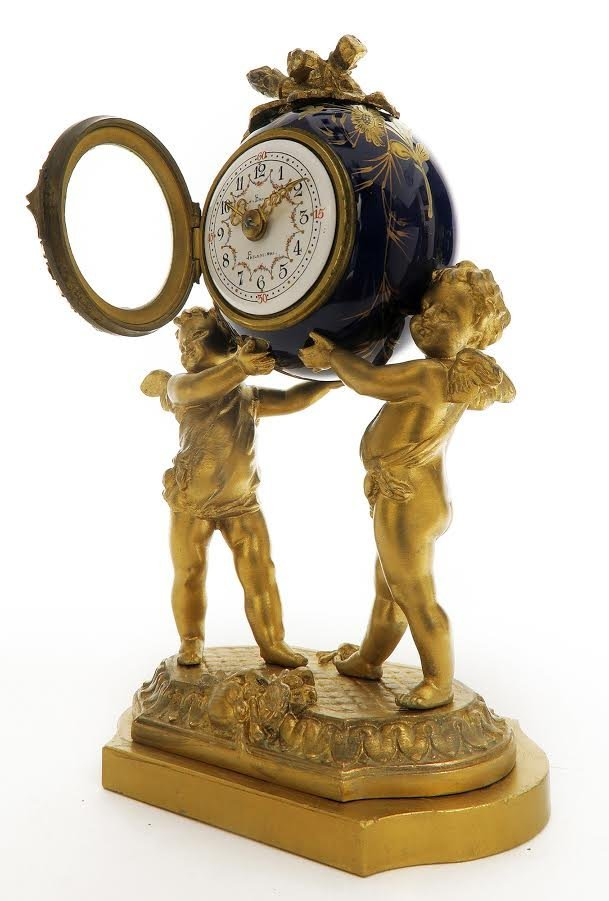 19th C. French Porcelain and Figural Bronze Clock Set - 2