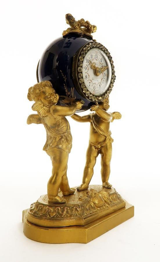 19th C. French Porcelain and Figural Bronze Clock Set - 3