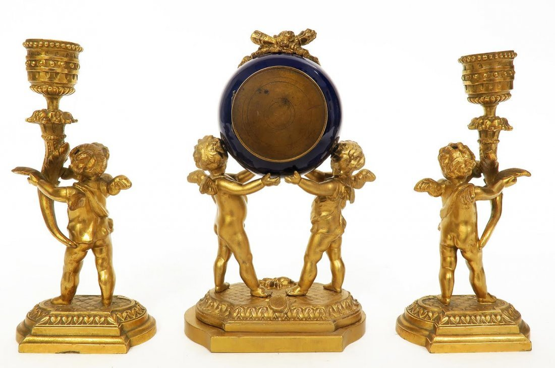 19th C. French Porcelain and Figural Bronze Clock Set - 4