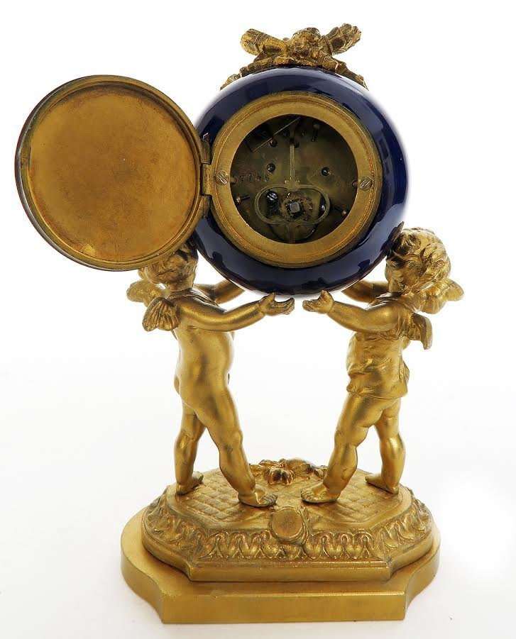 19th C. French Porcelain and Figural Bronze Clock Set - 5