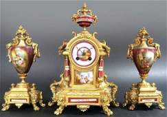 19th C French Hand Painted Sevres Porcelain Clock