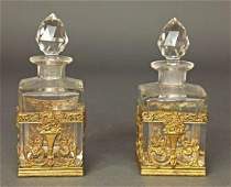 Pair of French Bronze  Baccarat Crystal Perfume Bottle