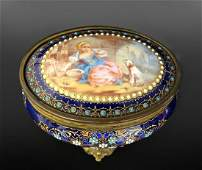 19th C. French Bronze & Sevres Porcelain Jewelry Box