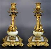 Pair of French Bronze  Marble Figural Candelabras