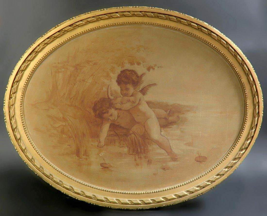 19th C. French Oval Painting on Canvas