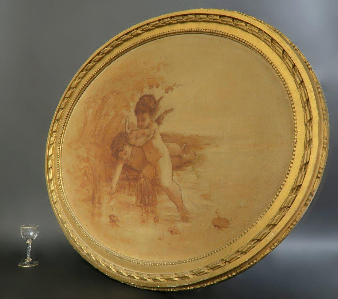 19th C. French Oval Painting on Canvas - 2