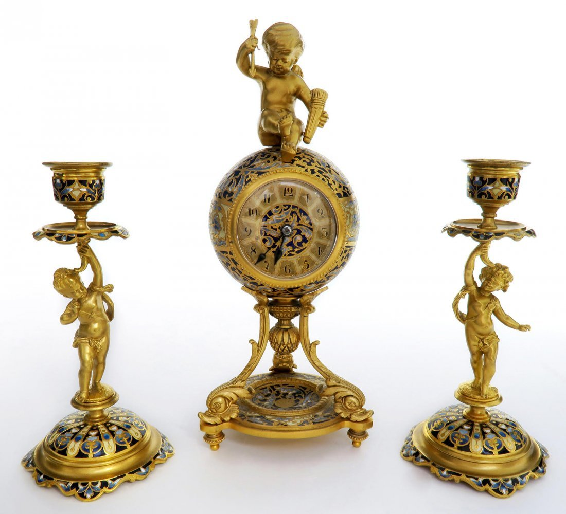Tiffany & Co. Figural Bronze & Champleve Clock Set