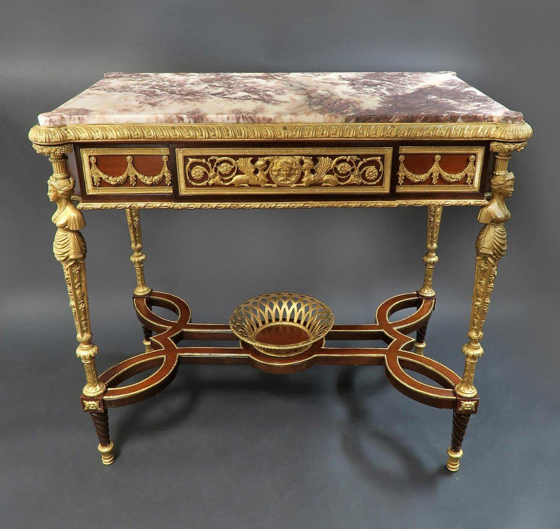 A French Ormolu-Mounted Mahogany Side Table - 5