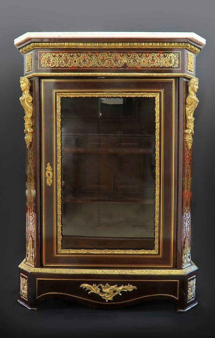 Very Fine French 19th C Bronze Mounted Figural Cabinet - 3