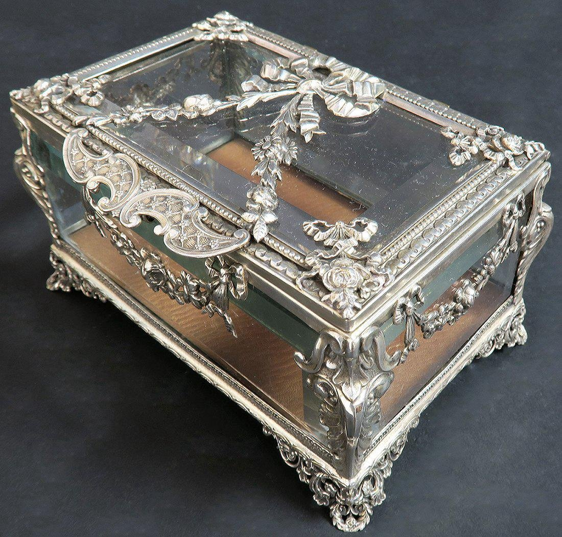 19th C. Sterling Silver & Crystal Jewelry Box