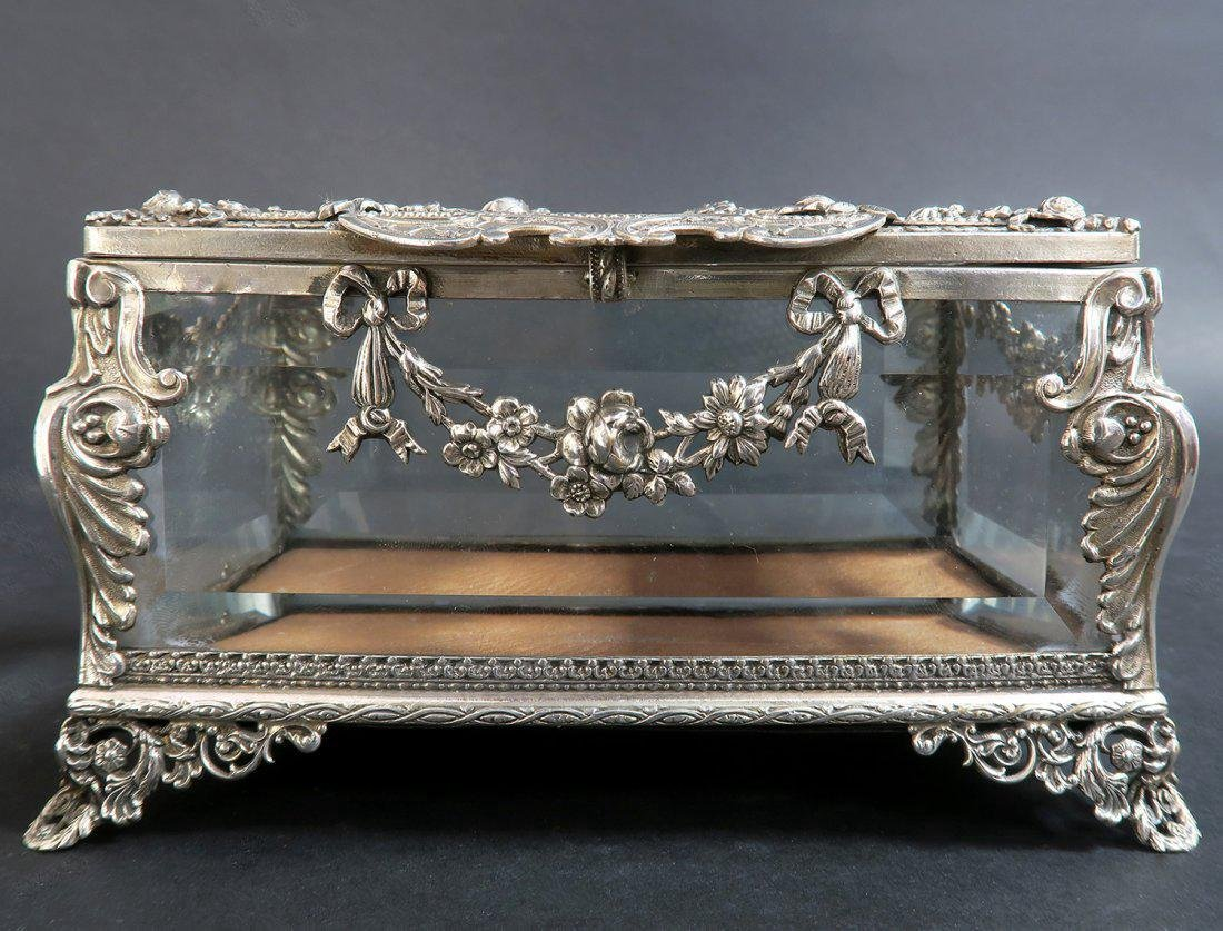 19th C. Sterling Silver & Crystal Jewelry Box - 2