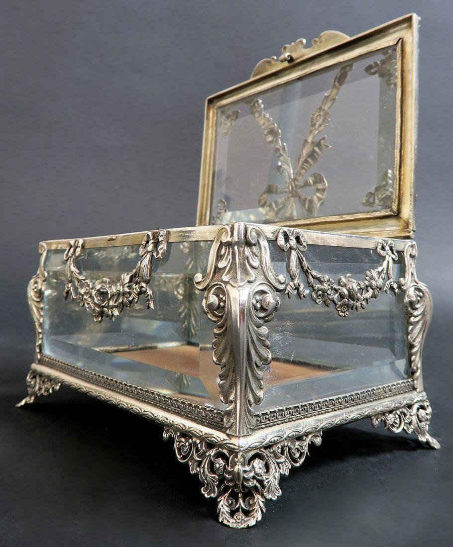 19th C. Sterling Silver & Crystal Jewelry Box - 3