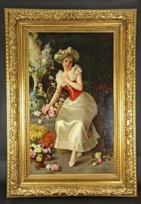 19th C. Oil On Canvas Signed By Oreste Costa(1851-1901)