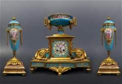 Magnificent Jeweled Sevres & Bronze Clock Set